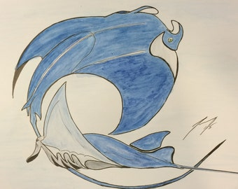 Blue Manta Ray  - Framed 8 X 10 Pen & Ink and Watercolor Painting - Last day at this SALE price