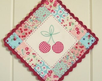 sweet cherries or strawberry appliqué pot holder-made-to-order