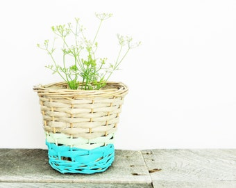 Little Painted Basket - Beachy Chic - Turquoise Mint Green - Get Organized