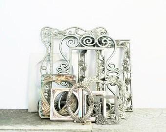 Vintage Silver Picture Frames - Set of 10 - Hearts and Roses - Elegant Wedding