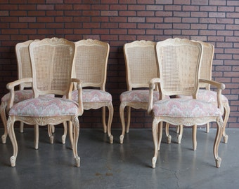 Set of 6 Cane Back Dining Chairs / French Provincial Dining Chairs / Country French Dining Chairs by Century Furniture