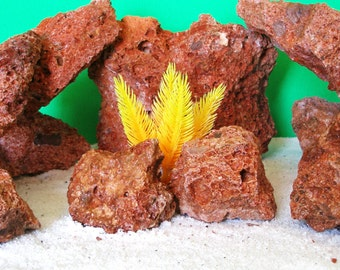 Rare Orange Lava Aquascaping DIY Cichlid breeding caves Reptile All Water Safe 10 Stones