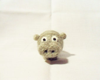 Needle Felted Hippo -  miniature hippopotamus figure - 100% corriedale wool - wool felt hippo - soft sculpture - wool hippopotamus