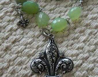 Fleur de Lis Green Semi Precious Stone Assemblage Pendant Necklace