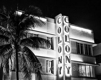 """Colony Hotel Art Deco in South Beach Miami Neon Sign, Antique Sign, Miami Black & White Art, Miami Photo, Black and White, 8""""x10"""" Print"""