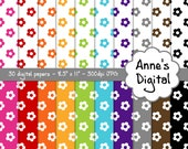 "Floral Digital Papers - Matching Solids Included - 30 Papers - 8.5"" x 11"" - Instant Download - Commercial Use  (241)"