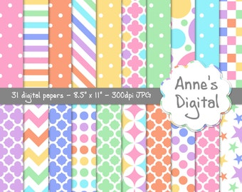 "Pastel Rainbow Digital Papers - Matching Solid Included - 31 Papers - 8.5"" x 11"" - Instant Download - Commercial Use (103)"