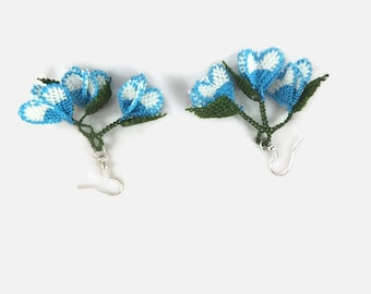 Dangling Flower Bud Earrings, Blue And White Oya Lace Earrings,  Unique Crochet Earrings, Knitted Jewelry, Tatted Earrings
