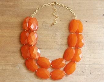 Burnt Orange Statement Necklace, Chunky Orange Bib Necklace, Orange Beaded Necklace, Orange Bridesmaid Necklace
