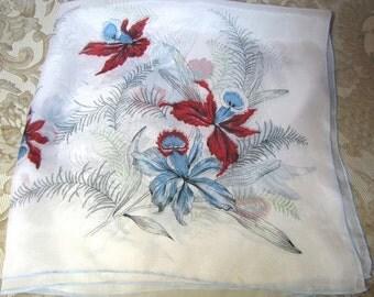 "1950's Rayon 30"" Scarf, Retro Flower Design"