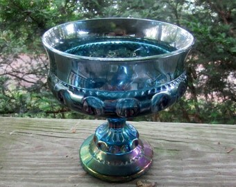 blue carnival glass kings crown thumbprint compote