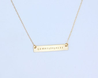 Gold or Silver Loving kindness bar necklace