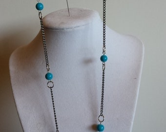 Blue Glass Bead & Chain Necklace