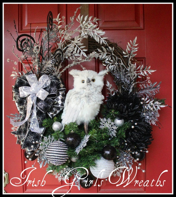 Black and silver glam winter owl christmas wreath large - Black and silver christmas ...