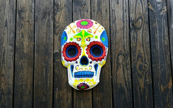Skull, Paper Mache Skull, Day of the Dead Paper Mache Skull