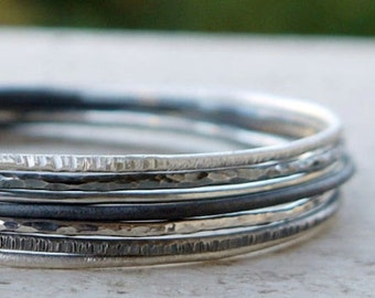 Stacking silver bangles set of 3, sterling silver bangles, hammered bangles, silver bracelet,  skinny bangles pick any 3.