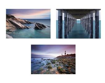 Beach Photo Print Set, 3 Three Photographs, Lighthouse Art, Coastal Decor, Pier Photo Seascape Photography Nautical Artwork Teal Blue Purple