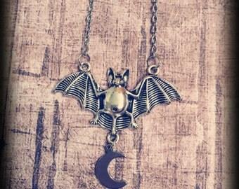 Bat & Crescent Moon Necklace