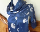 Long Silk Satin scarf blue and white hand painted batik, Ready to Ship #419