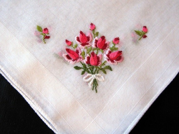 Embroidery Hanky Rose Handkerchief By Greenleafvintage1 On Etsy