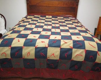 "Vintage Knotted Quilt Patchwork Pieced Blanket Comforter 76"" x 87"""
