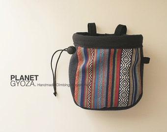 Chalk Bag - Tribal Pattern Cotton Woven fabric, Dark Greyish Blue Woolen fabric, Patchwork