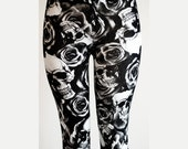 HALLOWEEN SALE Womens Printed Skull Rose Floral Gothic, dia de los muertos, Small - Plus Size Fashion Leggings Tights Pants