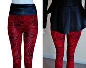 HALLOWEEN Wet look high waist Womens RED black Skull day of the dead, dia de los muertos, sugarskull leggings tights