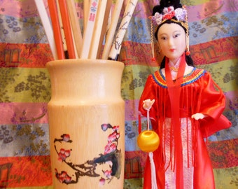 BAMBOO Container * Handcrafted Bamboo Asian Art Pen Pencil Brush Container * Chinese Art Collectible * Equine * Horse