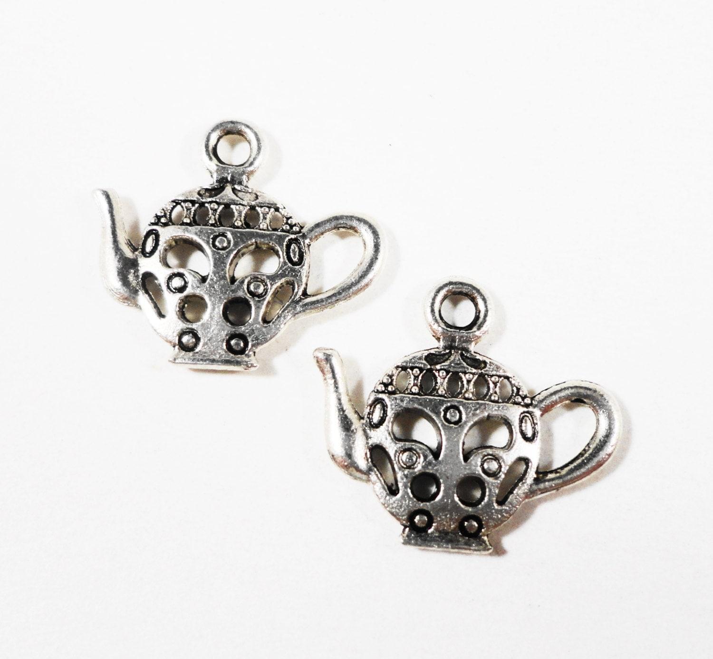 silver teapot charms 17x15mm antique silver metal tea kettle