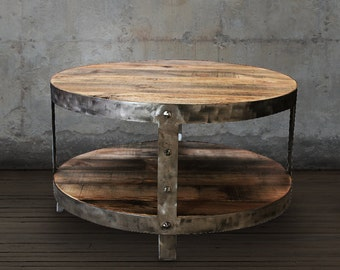 Reclaimed Wood Coffee Table, Reclaimed Wood Furniture, Round Table