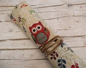 Knitting Organizer, Knitting Needle Case with Leather Cord, Owls  and Flowers Design
