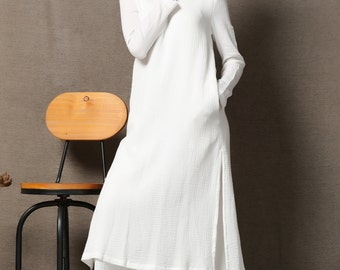 White cotton Dress - Layered Loose-Fitting Plus Size Casual Comfortable Long Sleeve Handmade Clothing C554
