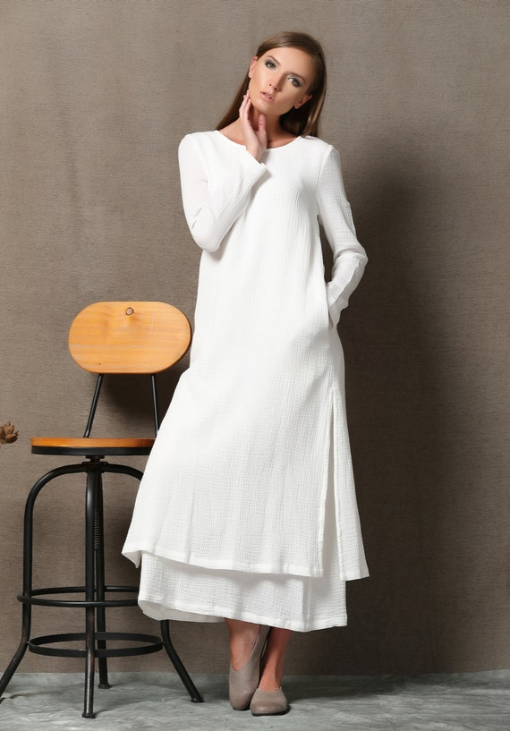 White Cotton Dress Layered Loose Fitting Plus Size Casual