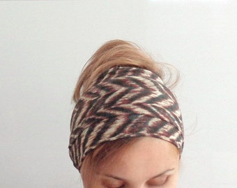 long ethnic head scarf boho head wrap fashion head accessory chevron thin scarf headwrap hair band brown free spirit tribal zigzag head wear
