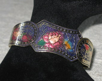 Cloisonné Hinged Golden Metal Bracelet
