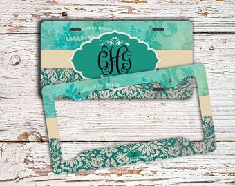 Monogram pretty license plate or frame, Distressed aqua green damasks, Front car tag, Personalized bicycle license plate, Bike tag (9697)