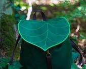 Dark Green Leaf Leaf Bohemian Backpack,  Women's Rucksack, Waterproof Festival Backpack, Grunge Backpack, School Backpack,