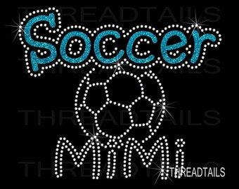 Soccer Mimi / ball Glitter and Rhinestone T-shirt for Grandmothers. School sports team player tee, top, ladies apparel. Soccerball shirt.