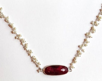 Pearl and Ruby Rosary Chain Necklace, Pearl Necklace, Ruby Necklace, Ruby Jewelry, Gemstone Jewelry, Gemstone Necklace, Silver Chain Neck