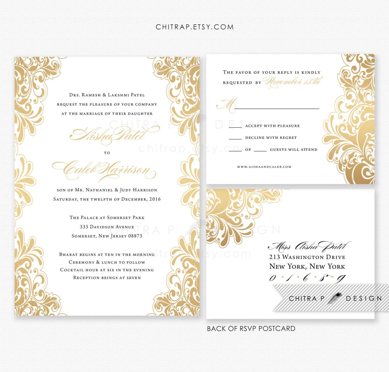 Gold Wedding Invitations: White Gold Wedding Invitations & RSVP Postcards Printed