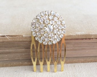 Gold hair Comb, Art Deco hair comb, Art Deco hair accessories, Gold Bridal Hair Comb, bridal comb rhinestone SMALL ROUND GOLD