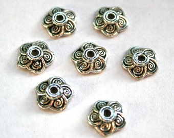 10 Antique Silver Floral Bead Caps