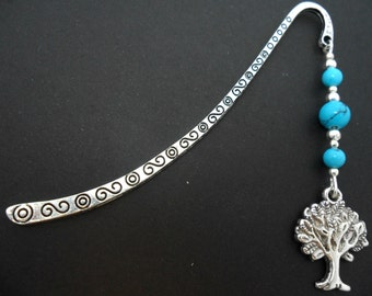 A tibetan silver tree of life and turquoise  beads bookmark.