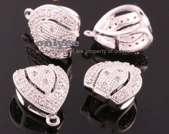 2pcs-13mm(w) x 16mm(h)Bright Rhodium plated Brass Cubic zirconia Pendant Clasp,Bail Connector(K029S)