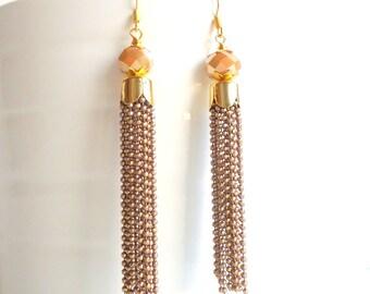 Brown Tassel Earrings, Drop earrings, Gold Chain earrings, 2018 trends, glam earrings, long earrings, caramel brown earrings
