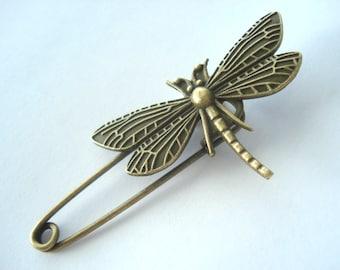 Shawl Pin Bronze Tone Dragonfly Shawl Pin Dragonfly Kilt Pin Dragonfly Brooch MB28