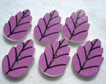 30mm Wood Buttons Large Leaf Shape Button Purple Pack of 10 Leaf Buttons WW3040A