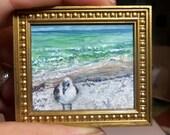 Miniature 1:12 Scale Handmade Original Oil Painting for Collectors / Dollhouse Artwork / Fridge Magnet / Fine Art / Seagull on Beach