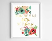 She is Fierce Girl's Art Print-Modern Gold and Floral Nursery Art/Girl's Room Art/Decor by paper and palette